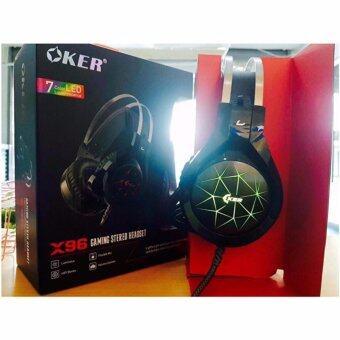 ประเทศไทย OKER หูฟังเกมมิ่ง Hi-Fi stereo headphone Gaming Headset รุ่น X96 (Black) 7 Color LED