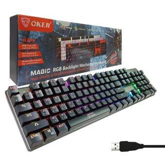 2561 OKER Magic RGB Backlight Mechanical Keyboard Blue Switch รุ่น K84 (สีดำ)