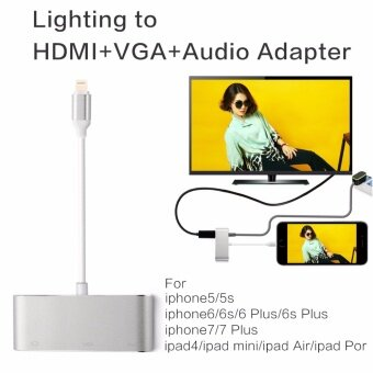 รีวิวพันทิป Original Lighting to HDMI/VGA/CVBS(AV)/3.5mm Audio Adapter with Micro USB Power Supply for iPhone 7 Plus 6s 6 Plus 5 5s iPad 4 mini