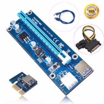 PCIe Riser PCI-E 1x to 16x PCI Express Riser Card USB 3.0 for BTCMiner Machine-0.3m Blue Cable