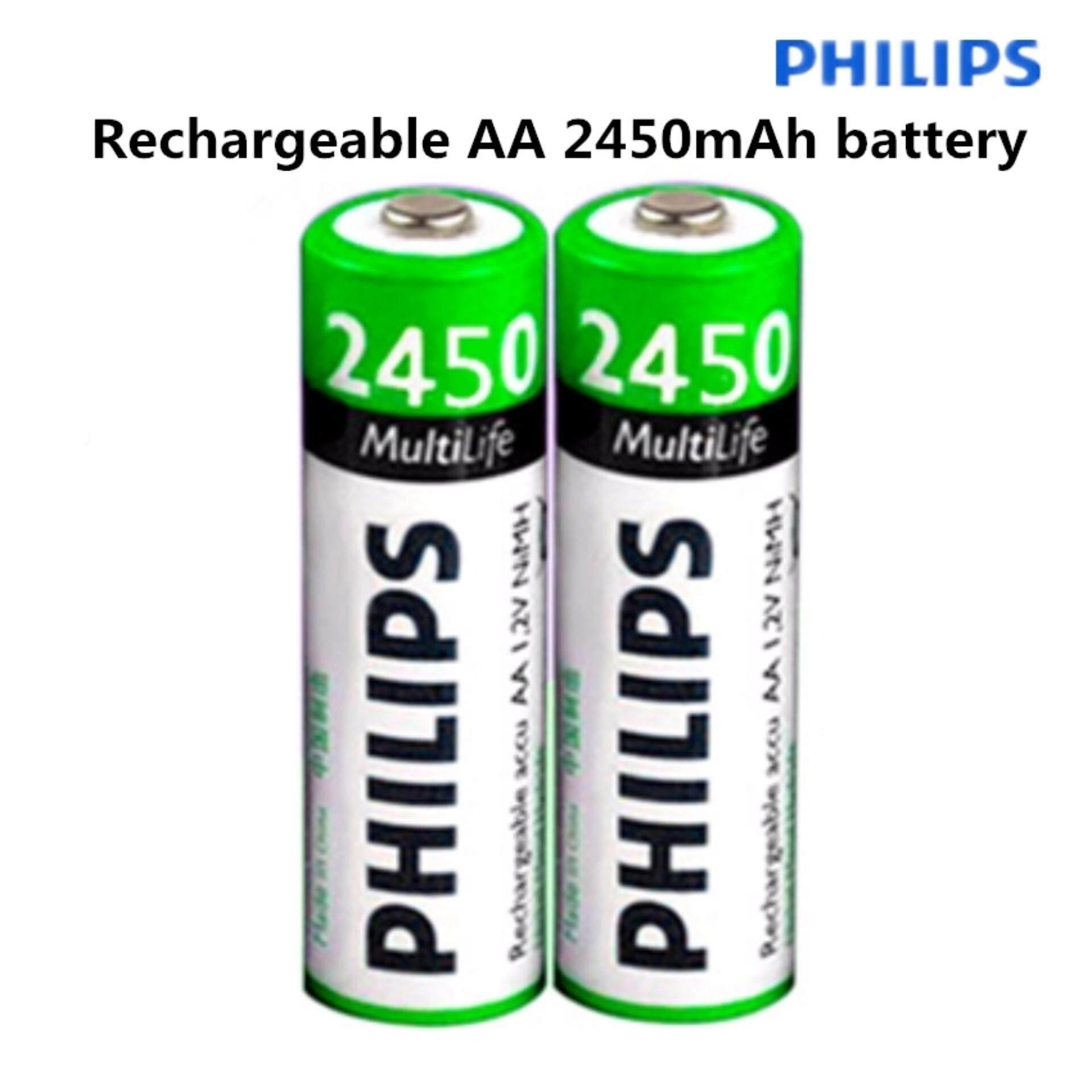 PHILIPS ถ่านชาร์จ AA 2450 mAh NIMH Rechargeable Battery 2 ก้อน