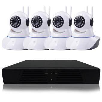 ลดราคา PNP ONVIF IP Camera 4ตัว กล้องวงจรปิด/กล้องไอพี 1.3 ล้านพิกเซล HD720P CCTV Kit Set NVR 4ช่อง 1080p Full HD