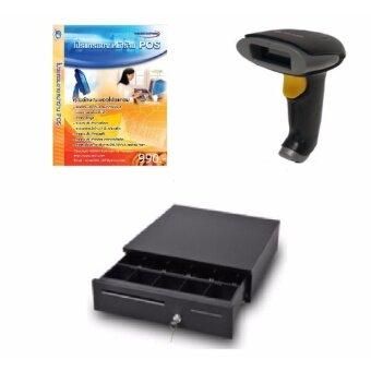 โปรแกรมขายหน้า Pos พร้อมอุปกรณ์ เครื่องอ่านบาร์โค้ด+ลิ้นชักเก็บเงิน Set PMB-mini3-2