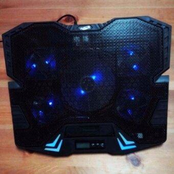 "2561 Primaxx Fan Notebook พัดลมระบายความร้อน 9-17"" 5ใบพัด มี LCDรุ่น K5 (สีดำ)"