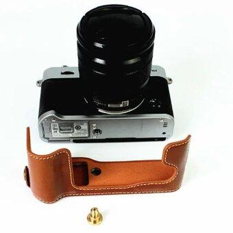Protective Genuine Leather Half Camera Case Bag Cover Base for Fujifilm XT10(Camera Not Included) Brown