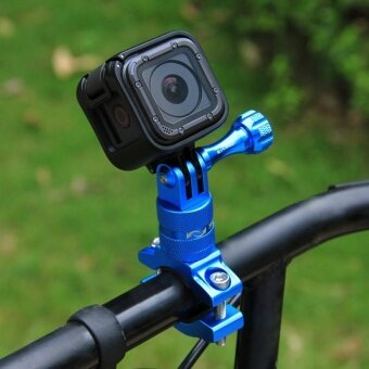 PULUZ 360 Degree Rotation Bicycle Aluminum Handlebar Adapter MountWith Screw For GoPro HERO5 Session /5 /4 Session /4 /3+ /3 /2 /1,Xiaoyi Sport Camera(Blue) - intl