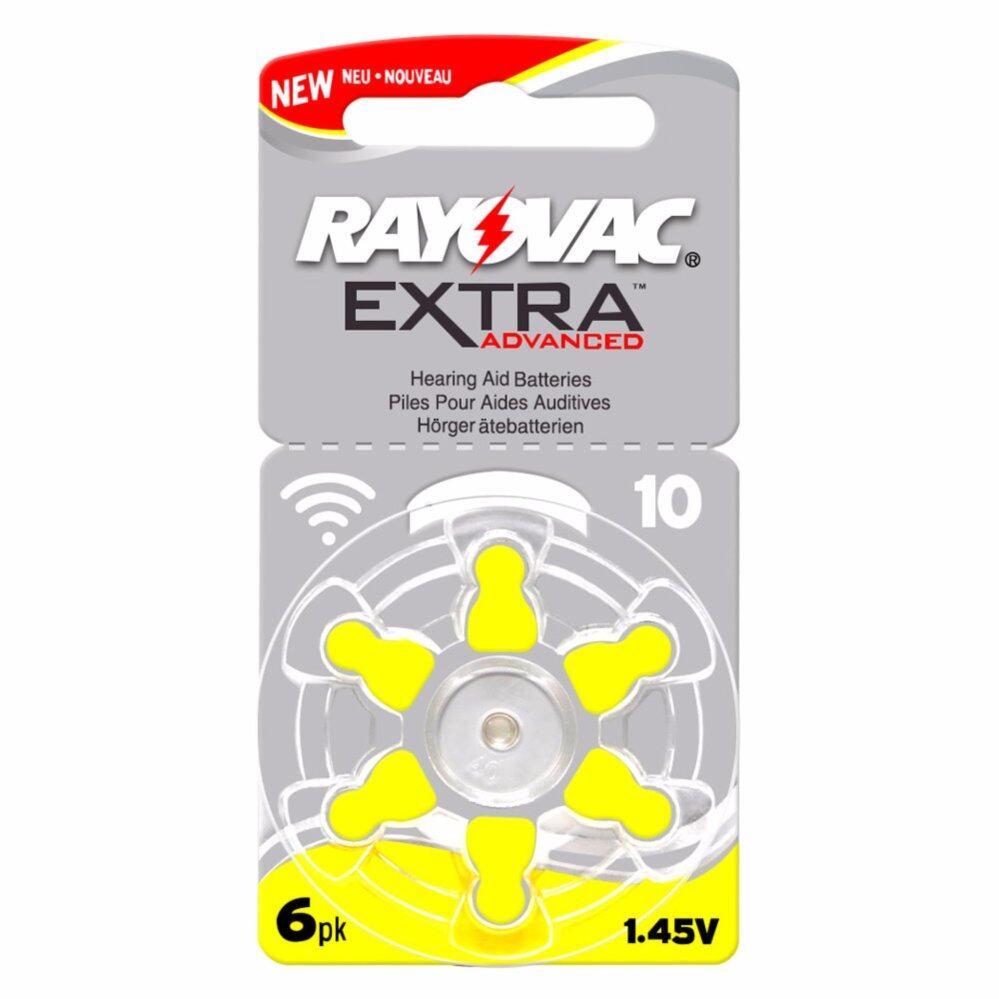 Rayovac ถ่านสำหรับเครื่องช่วยฟัง ถ่านเครื่องช่วยฟัง ถ่านหูฟังคนแก่ขนาดA10/PR70 แพ็ค 6 ก้อน ถ่านอุปกรณ์ช่วยฟังนำเข้ามาตรฐานยุโรป ExtraAdvanced 1.45V Zinc Air Hearing Aid Battery (6 PCS)