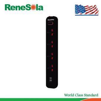 โปรโมชั่นพิเศษ ReneSola รางปลั๊กไฟ ปลั๊กพ่วง4ช่อง USB2ช่อง สายไฟยาว3เมตร รุ่น MS-105U/BK (สีดำ)