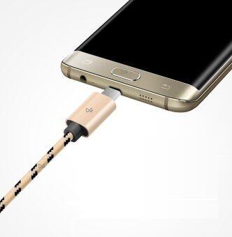 สายชาร์จ Samsung Galaxy S4 S5 S6 S7 S8 Android OS LED Lightningสายทักไนล่อน พรีเมี่ยม (สีทอง) - 3