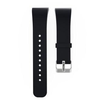 สายรัดข้อมือซิลิโคนรัดกีฬาสำหรับ Samsung Gear Fit 2 SM-R360 (สีดำ)- Intl