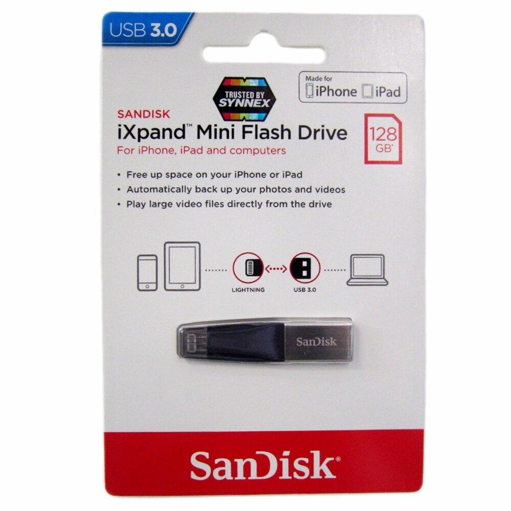 SanDisk iXpand Mini flash drive 128GB for iOS  แฟลชไดร์ฟสำหรับ iPhone และ iPad ขนส่งโดย KERRY EXPRESS