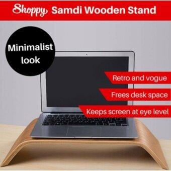 Shoppy ไม้ Samdi แท่นวางคอม แล๊ปท๊อป (ไม้ไผ่) สำหรับวาง Imac คอมพิวเตอร์ หน้าจอ LCD/MAC ทุกรุ่น (Walnut)