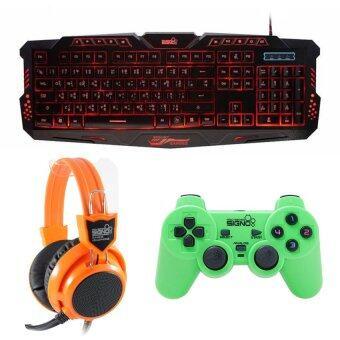 ซื้อ/ขาย SIGNO ชุด คีย์บอร์ด + หูฟัง + จอย รุ่น KB-719,HP-802,GP-801 (สีดำ,สีส้ม,เขียว)