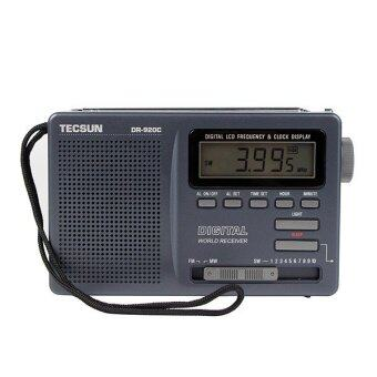 Tecsun DR-920C เรดิโอเอฟเอ็มสะเอ็มดับเบิลยู 12 สายรับสัญญาณนาฬิกาดิจิตอล และแบล็คไลท์เอฟเอ็มวิทยุแบบพกพา (สีดำ)