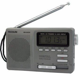 Tecsun DR-920C เรดิโอเอฟเอ็มสะเอ็มดับเบิลยู 12 สายรับสัญญาณนาฬิกาดิจิตอล และแบล็คไลท์เอฟเอ็มวิทยุแบบพกพา (สีเทา)