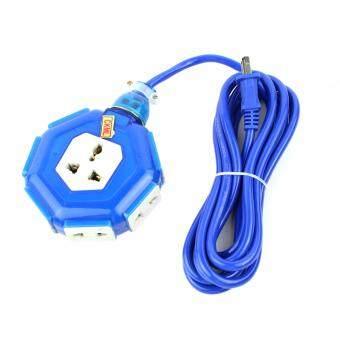 อยากขาย Telecorsa CKML ปลั๊กไฟ 3 ตา ทรงวงกลมเล็ก+ปลั๊กไฟ2ตา สายยาว 10เมตร รุ่น 6AnglePlug