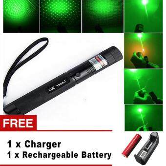 Top Laser 303 10000mw Green Laser Pointer Adjustable Focal LengthWith Star Pattern Filter - intl