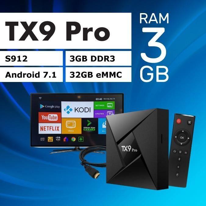 ยี่ห้อไหนดี  แพร่ ตัวท็อป สเปคเทพ Tx9 Pro Ram 3 GB  Rom 32GB Amlogic S912 octa core Android 7.1 Tv box built in 2.4G + 5G + Bluetooth dual wifi 4Kplayer