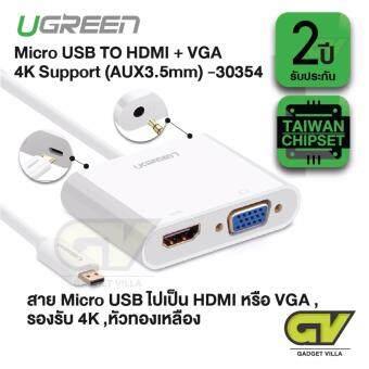 UGREEN รุ่น 30354 ปลั๊กแปลงสัญญาณ Micro HDMI ไปเป็น HDMI หรือ VGA รองรับ 4K พร้อมช่องเสียบสาย ออดิโอ 3.5 มิลลิเมตร (สีขาว)