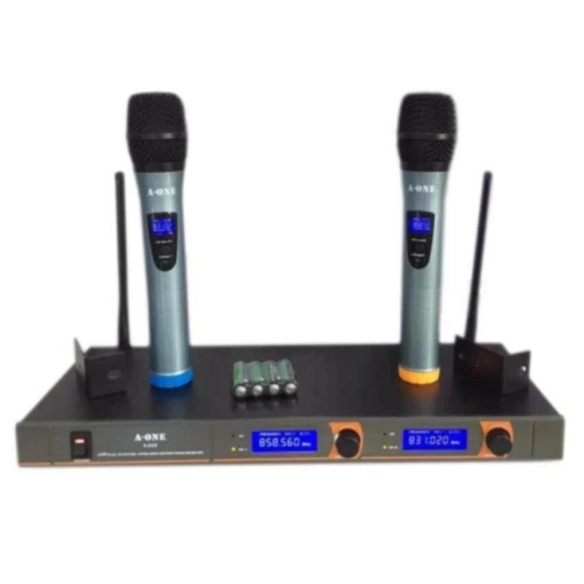 ไมโครโฟนไร้สาย/ไมค์ลอยคู่ UHF ประชุม ร้องเพลง พูด WIRELESS Microphone รุ่น A-ONE A-222