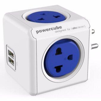 ปลั๊กไฟ Universal ปลั๊กลูกเต๋าป้องกันไฟกระชาก มีช่องUSBชาร์ต CUBEALLOCACOC 4600BL/THOUPC BLUE