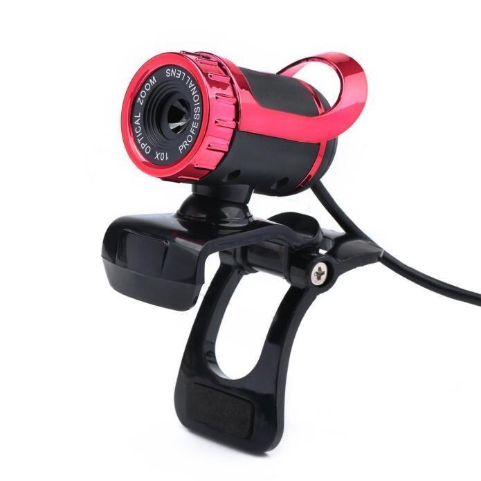 USB 12 Megapixel HD Camera Web Cam 360° MIC Clip-on for Computer Laptop PC Red