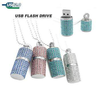 Usb Flash Drive Crystal Memory Necklace Stick-Blue