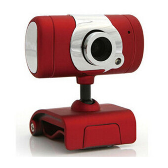 USB2.0 Clip-on Webcam Camera HD 2000 Megapixels Camera with MIC for Computer PC Laptop (Red)
