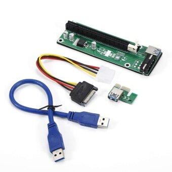 ขอเสนอ USB3.0 PCI-E Express 1x To 16x Extender Riser Card Adapter SATA Power Cable - intl