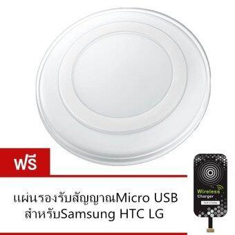 Wireless Charger เครื่องชาร์จไร้สาย + แผ่นรับสัญญาณสำหรับ Samsung/Android (สีขาว) ฟรี Mocro USB