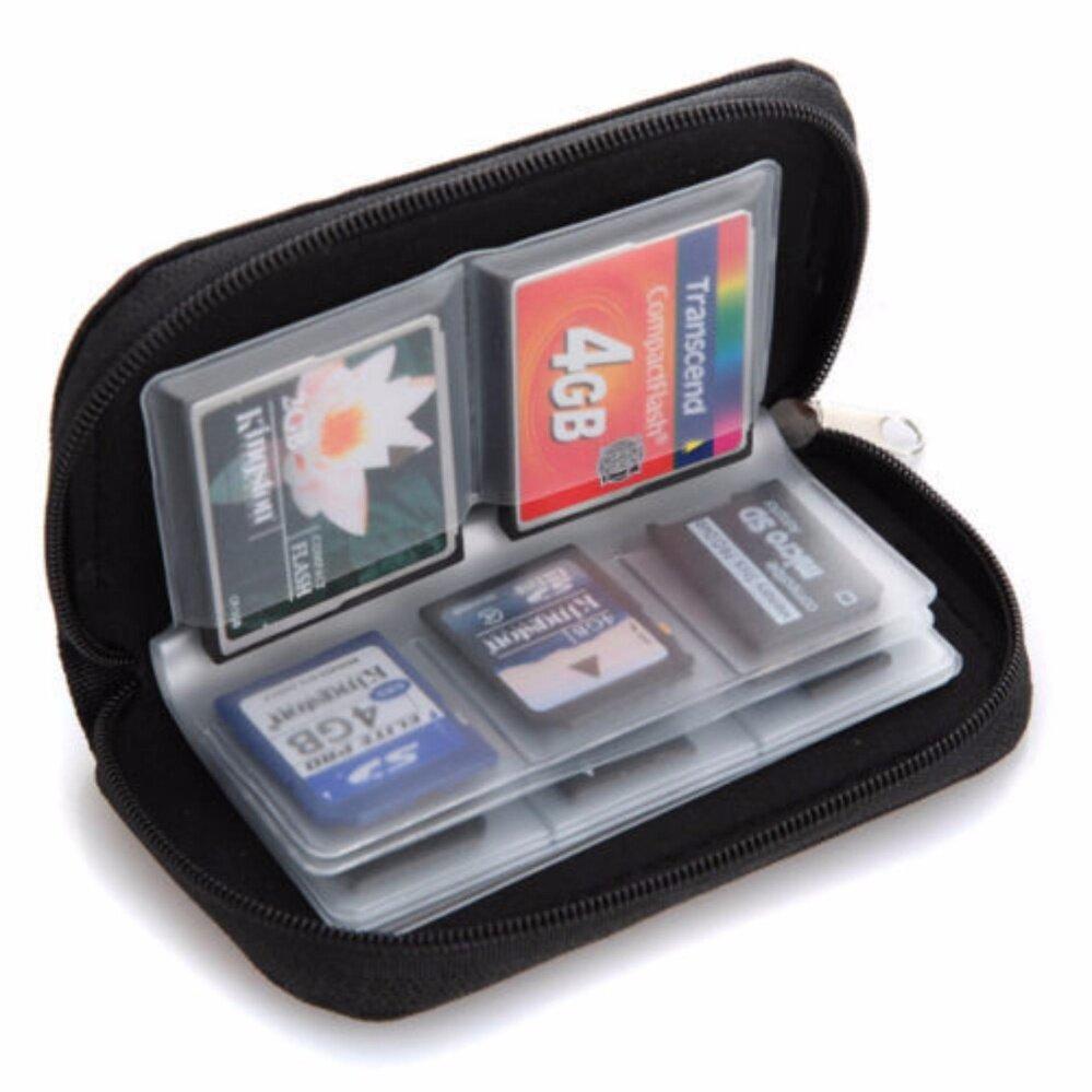 WOW กระเป๋าเก็บเมมโมรี่การ์ด สำหรับ CF, SD หรือ Micro SD cardมีช่องทั้งหมด 22 ช่อง (สีดำ)