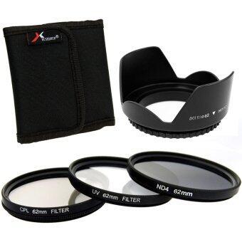 XCSource ฟิลเตอร์เลนส์ 3 ชิ้น UV CPL ND4 Filter + Lens Hood 62mmสำหรับ Canon 6D 7D 60D 70D 700D 1100D