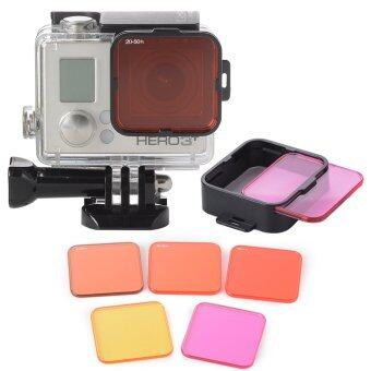 XCSource 5pcs ชุดเลนส์ฟิลเตอร์ Diving Filter Kits Red+Purple+YellowLens+Adapter สำหรับ Gopro Hero 4 3+