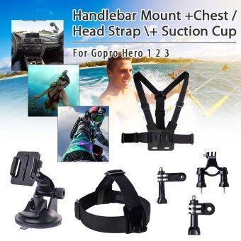 XCSOURCE Set Handlebar Mount + Chest / Head Strap + Suction Cup for\nGopro Hero 1 2 3 OS057