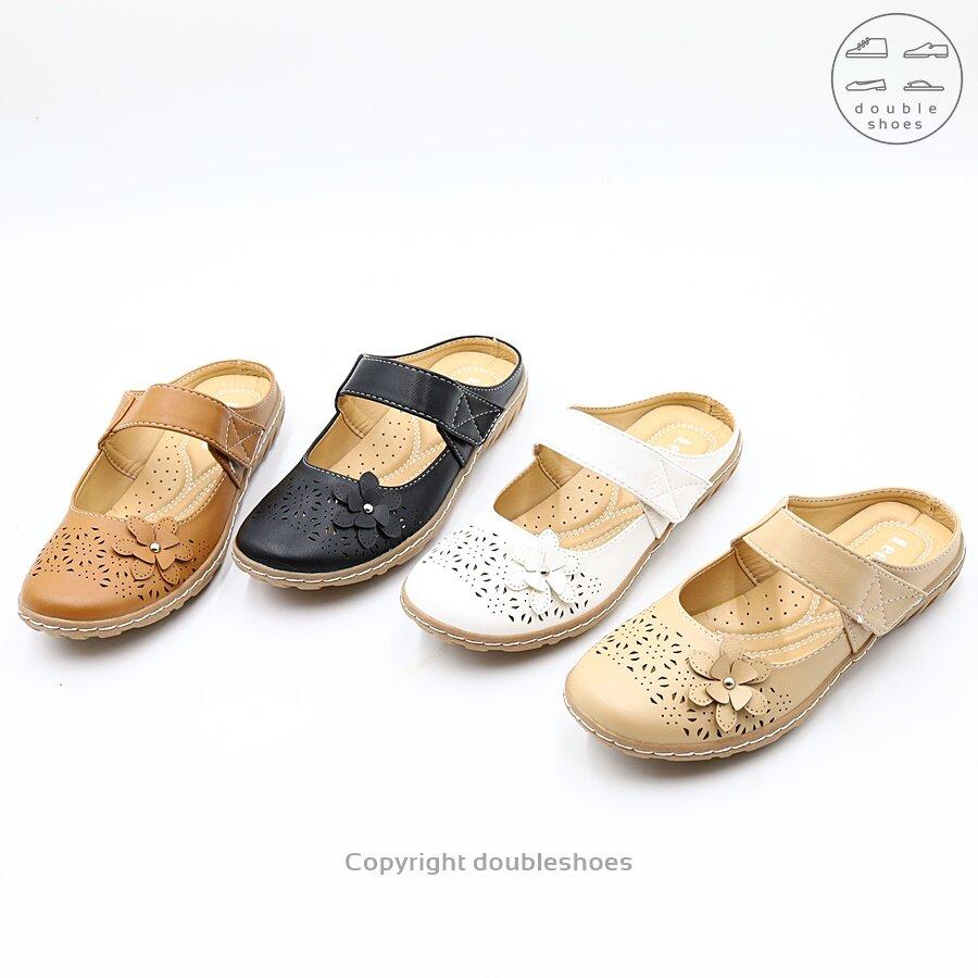 รองเท้าคัทชู เปิดส้น ลายฉลุ ลูกไม้ Leepop รุ่น MQ223 (สีดำ/ ครีม/ แทน/ ขาว ) ไซส์ 36-40
