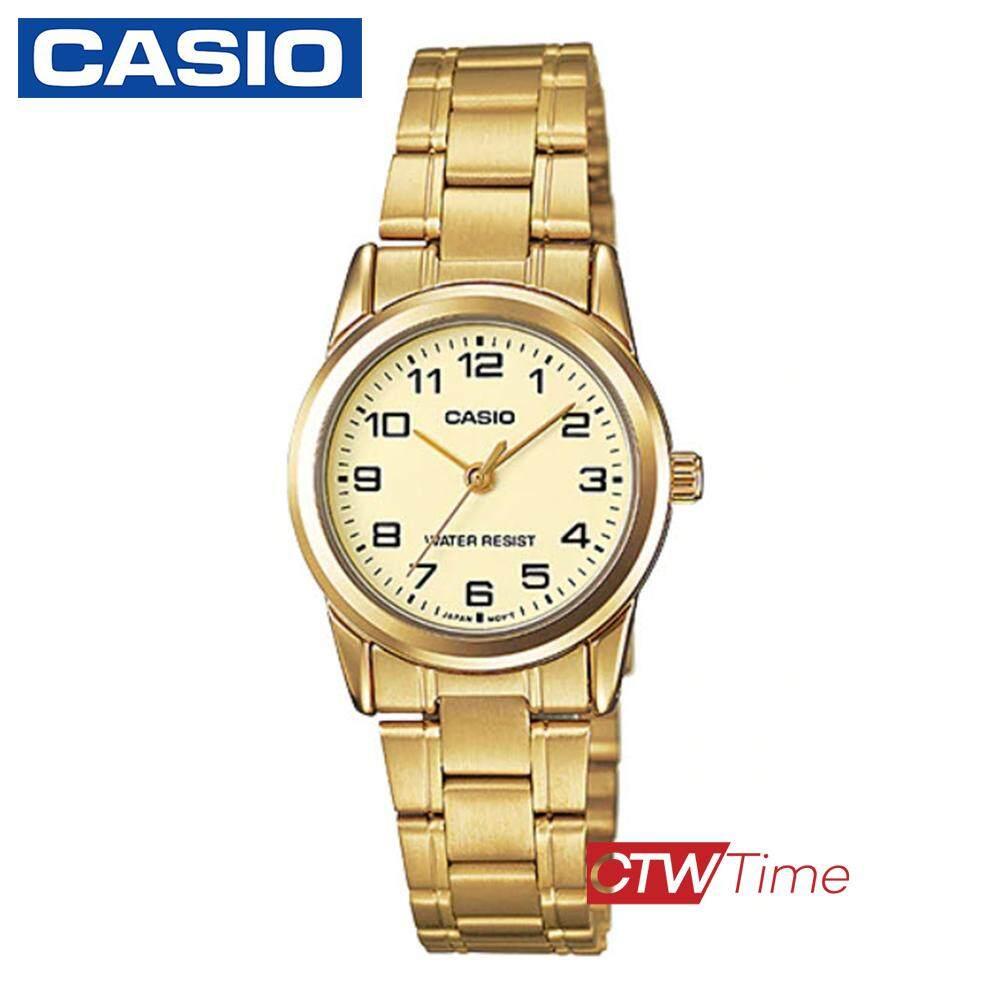 Casio Standard นาฬิกาข้อมือผู้หญิง สายสแตนเลส รุ่น LTP-V001G-9BUDF - Gold