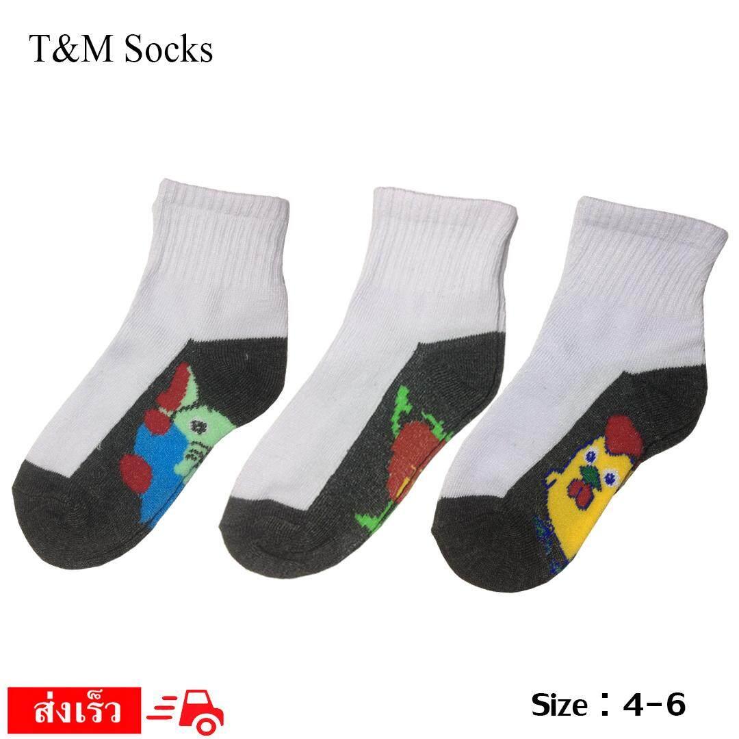 สุดยอดสินค้า!! T&M socks จัดส่งโดย Kerry ถุงเท้านักเรียน สีขาวพื้นเทา ผ้าบาง ลายการ์ตูน set 1 คู่