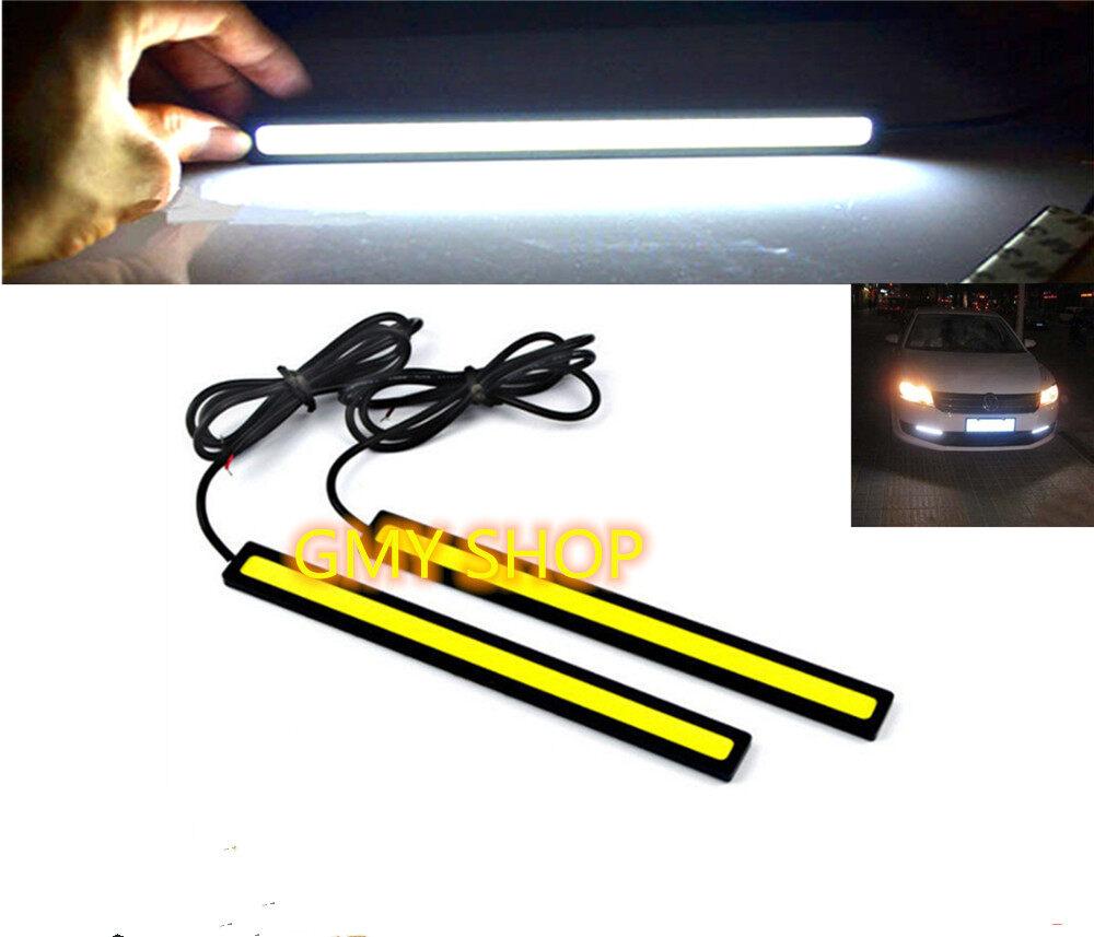 White Auto Waterproof Fog 2pcs DRL Daytime Running Light COB Driving Lamp