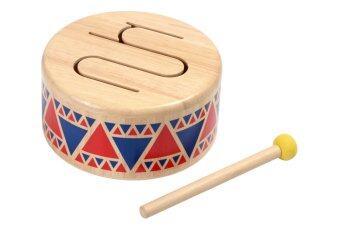 PlanToys ของเล่นไม้ Solid Drum กลองไม้ อินเดียแดง เครื่องดนตรี