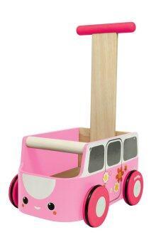 PlanToys ของเล่นไม้ Van Walker Pink รถเข็นไม้ จับ จูง ฝึกเดิน สีชมพู