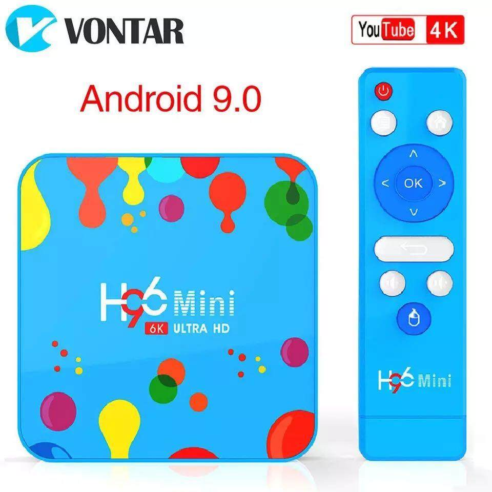 มหาสารคาม VONTAR 4GB 128GB H96 Mini Android 9.0 TV Box Allwinner H6 Quad Core 6K H.265 Wifi netflix youtube ชุดกล่องด้านบน H96mini 4GB32GB