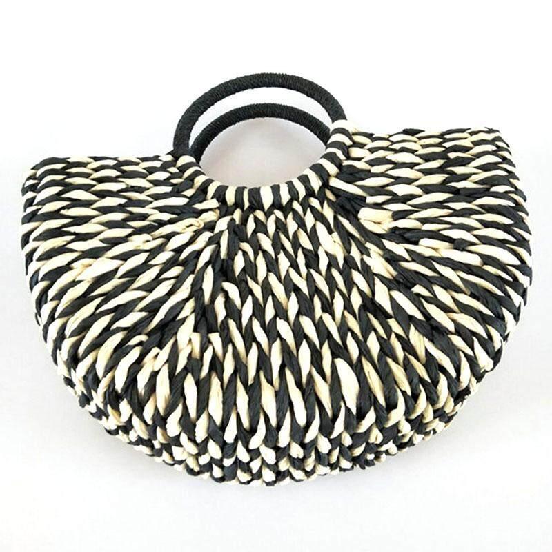 กระเป๋าเป้ นักเรียน ผู้หญิง วัยรุ่น เชียงราย New Women round bucket semicircle straw bag handmade net color woven basket rattan handbag(black)