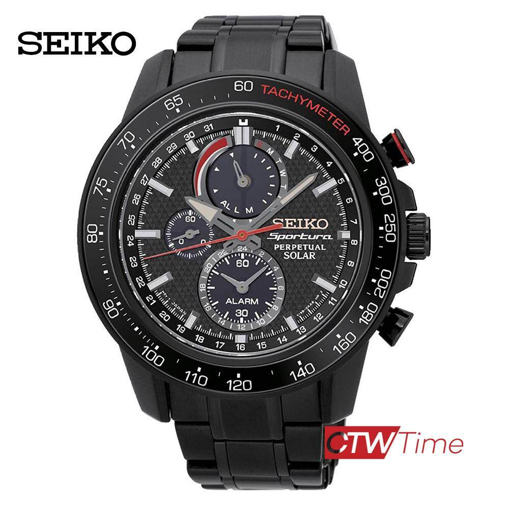 สอนใช้งาน  ภูเก็ต Seiko Sportura Perpetual Solar นาฬิกาผู้ชาย สายสแตนเลสรมดำ รุ่น  SSC427P1  (Black)