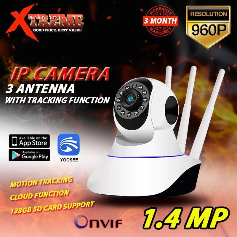 ช็อปสนุกและปลอดภัย Home IP Security Camera 1 4 MP HD 960p 3 เสา CCTV  Panorama ONVIF P2P LAN Wifi