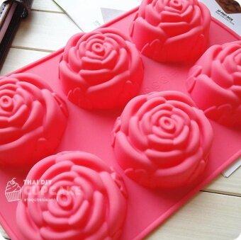 แม่พิมพ์ซิลิโคน ดอกกุหลาบ ใช้ทำสบู่ วุ้น ช็อคโกแลต เทียน 1 ชิ้น