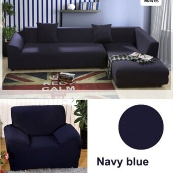 1 2 3 4 Seater L Shape Loveseat Chair Stretch Sofa Couch ProtectCover Slipcover Navy Blue