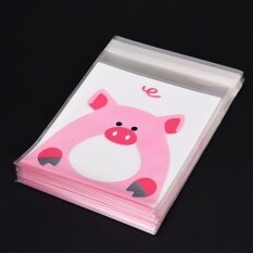 100PCS Cute Animals Candy Cake Packaging Bags Self-adhesive Gifts Bags Party Pig 10cm*10cm+3cm - intl