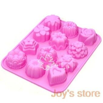 12 Floral Chocolate Cake Baking Bakeware Silicone Mould Color Random Diy Cookie Jelly Shape - intl