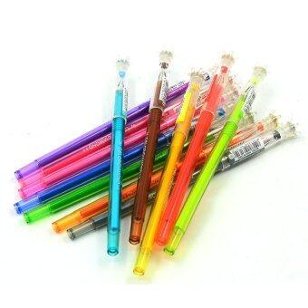 ขายด่วน 12ชิ้นสีสัน0.5มมปากกาหมึกเจลเซ็ตด้วยมงกุฎเพชรรูปทรงหมวกปากกาของขวัญสำหรับเด็กๆ