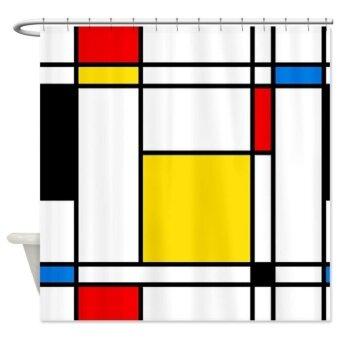 165x180cm ผ้าม่านห้องน้ำกันน้ำลายเส้นสีสัน 100% polyster